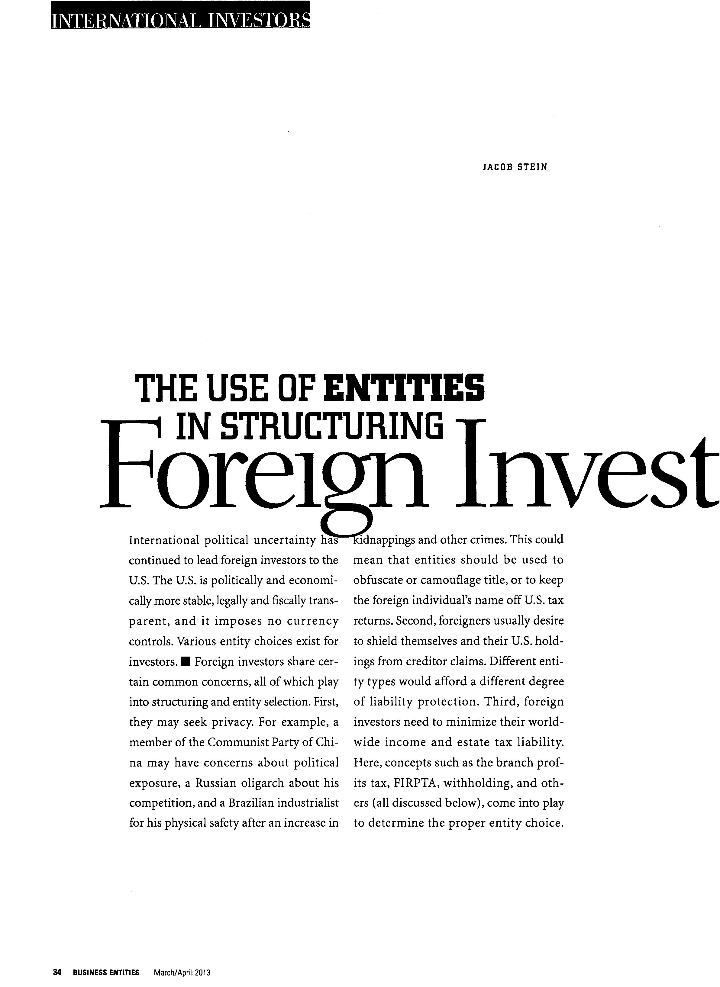 The Use of Entities in Structuring Foreign Investment