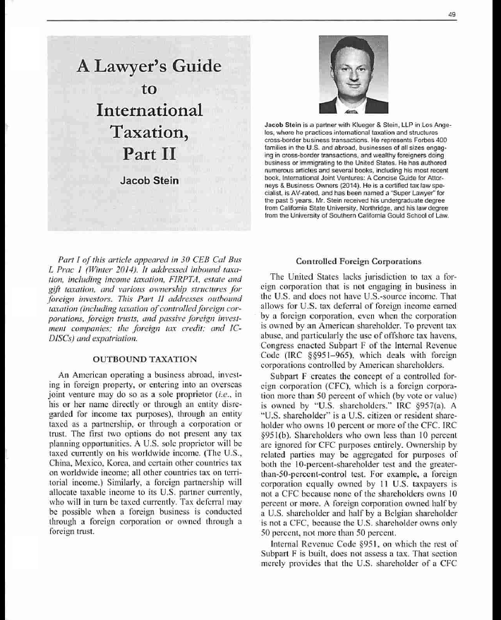 A Lawyer's Guide to International Taxation Part II